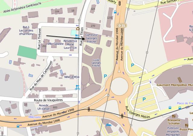 Plan d'accès Gymnase Georges Frêche - Montpellier